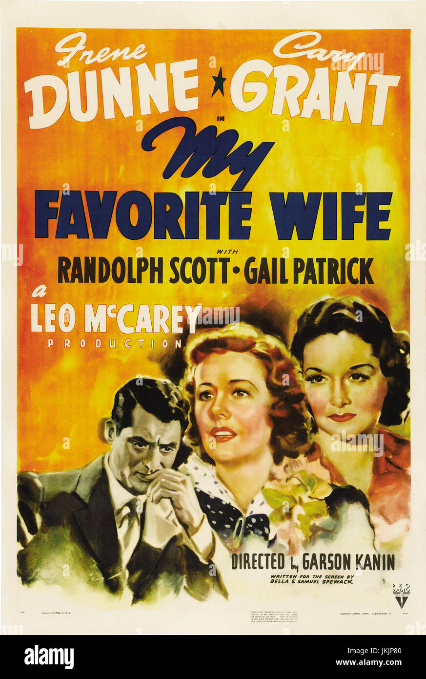 MY FAVOURITE WIFE (aka My Favorite Wife) 1940 RKO Radio Pictures film with Cary Grant and Irene Dunne - Stock Image