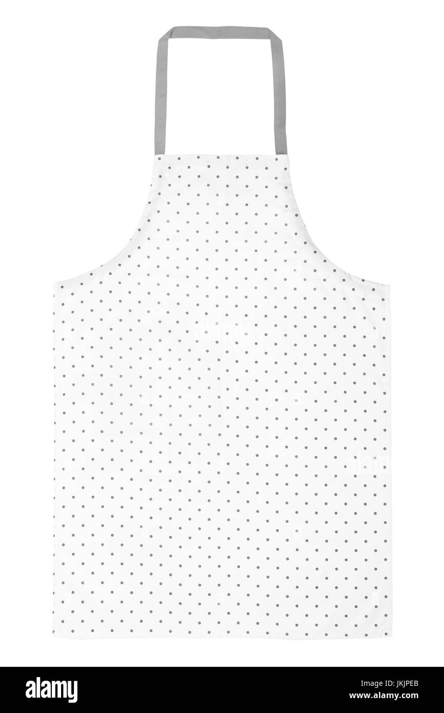 Apron with dotted pattern on white - Stock Image