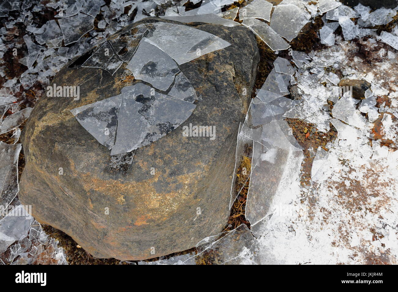 Detail of brittle ice smashed on the floor-stone at the bottom of small cove in Sildpolltjonna bay-S.shore Sildpollnes - Stock Image