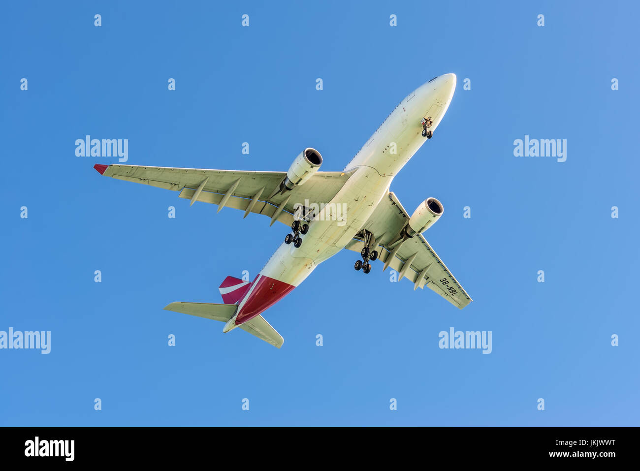 Plaisance, Mauritius - December 27, 2015: The aircraft Air Mauritius Airbus A330-202 taking off from the Sir Seewoosagur - Stock Image