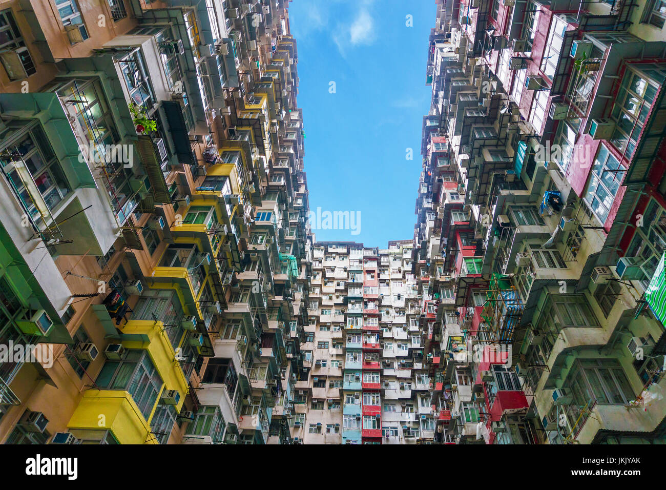Colorful crowded apartment in quarry bay hong kong china Stock Photo