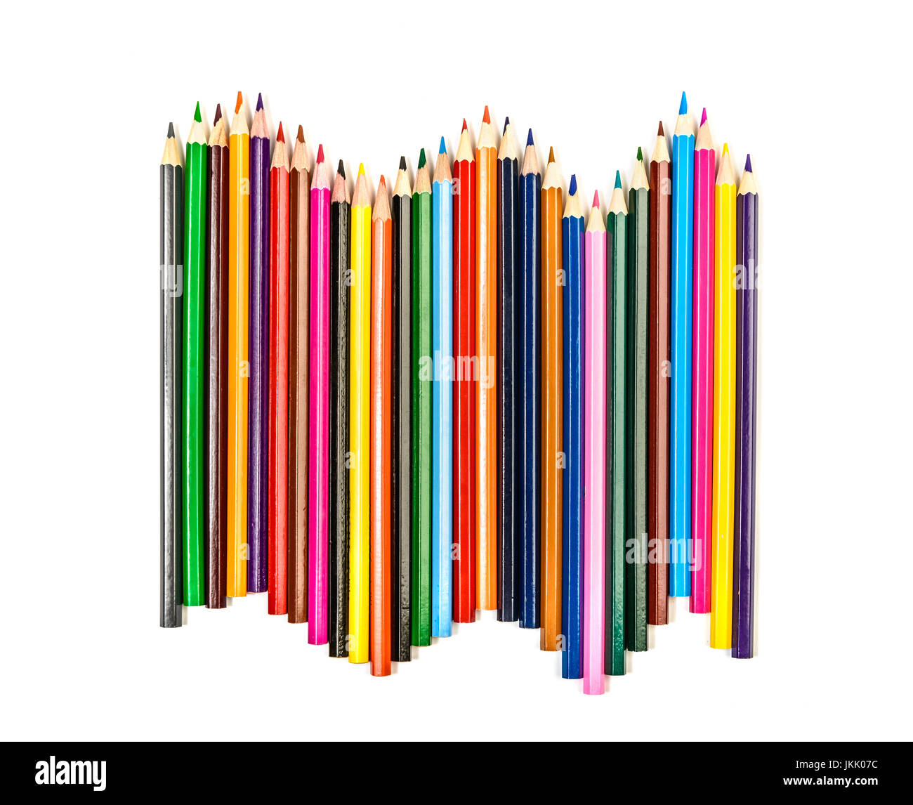 colorful pencils row isolated on white - Stock Image