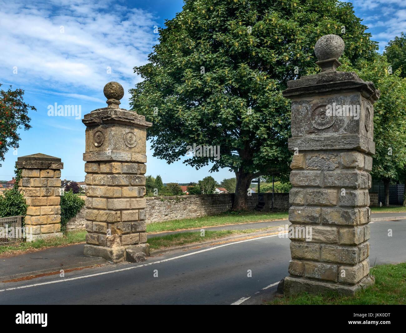 Gate Piers at the Village Entrance Goldsborough near Knaresborough North Yorkshire England - Stock Image