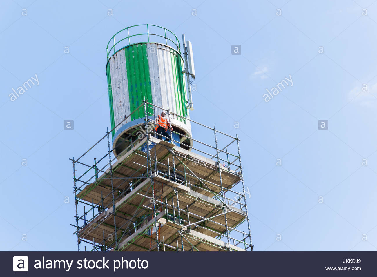 Scaffolding in place ready for the demolition of the Polo Tower in Morecambe, Lancashire, UK in June 2017 - Stock Image