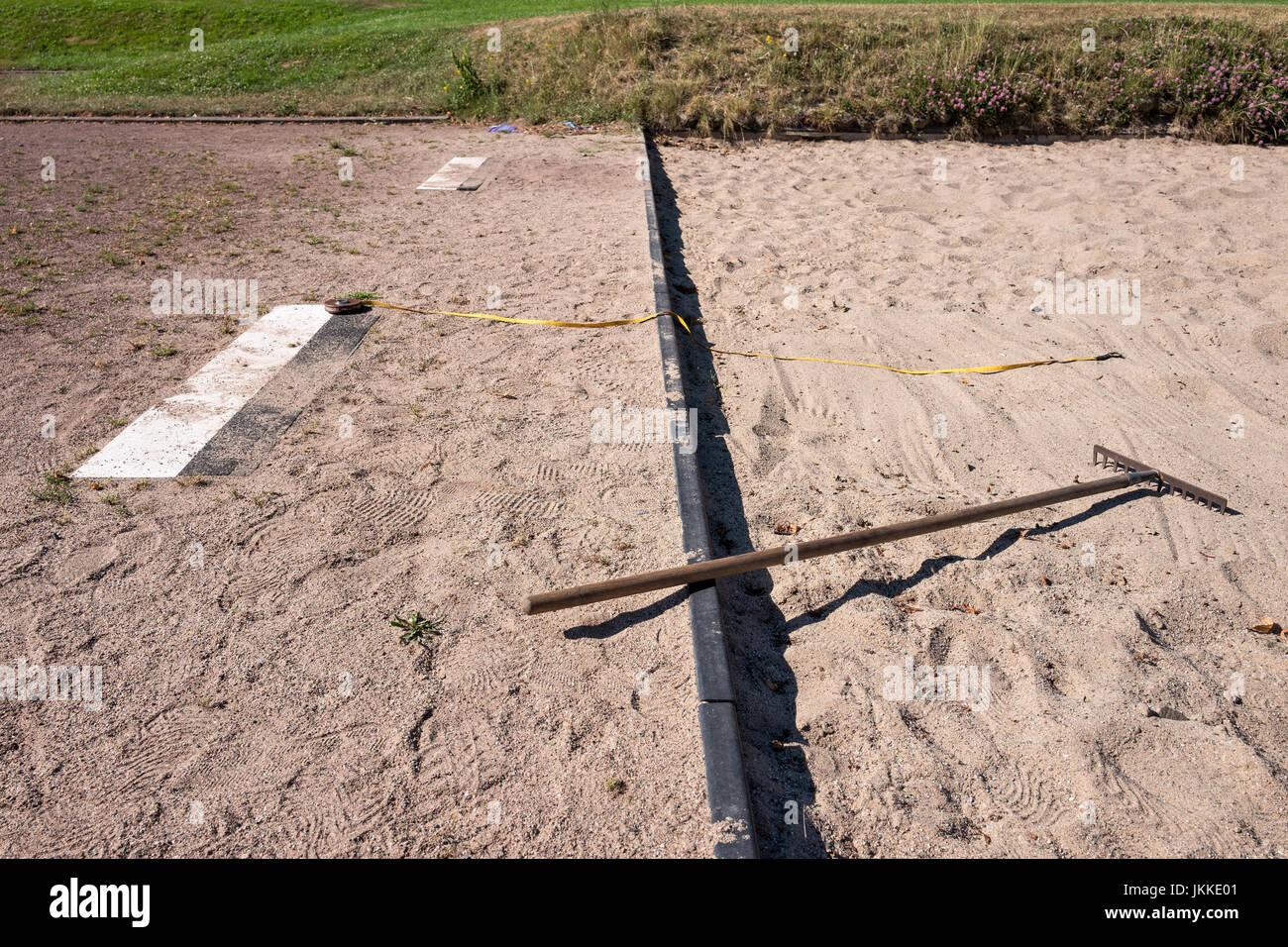 long jump box at sports ground Stock Photo