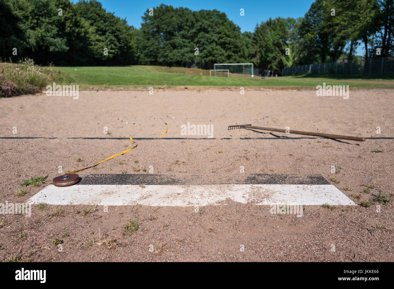 long jump box at sports ground Stock Photo