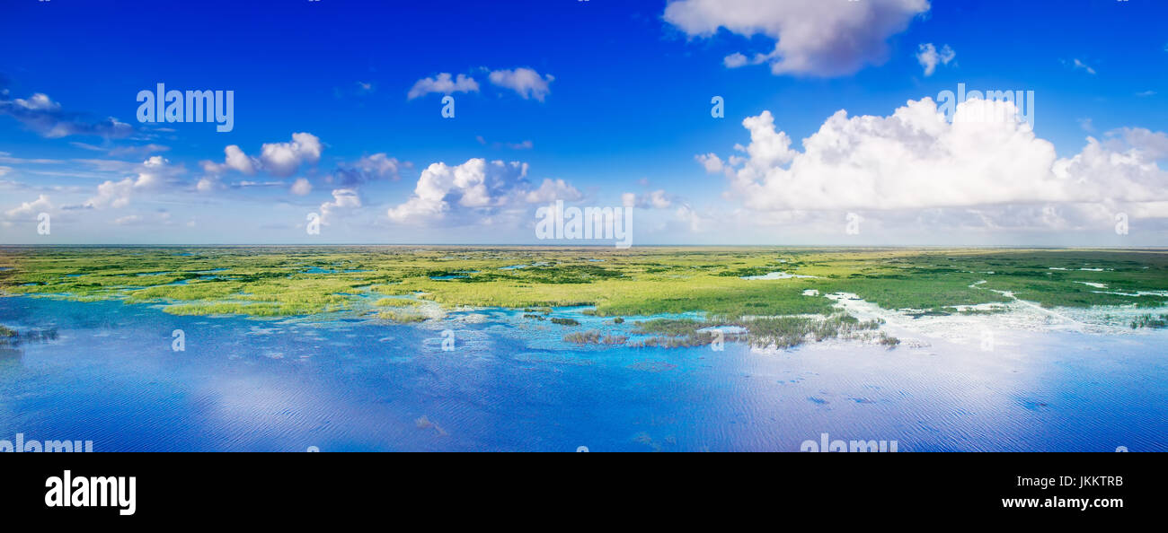 A panoramic view of the Florida Everglades photographed from a drone at an altitude of 300 feet. - Stock Image