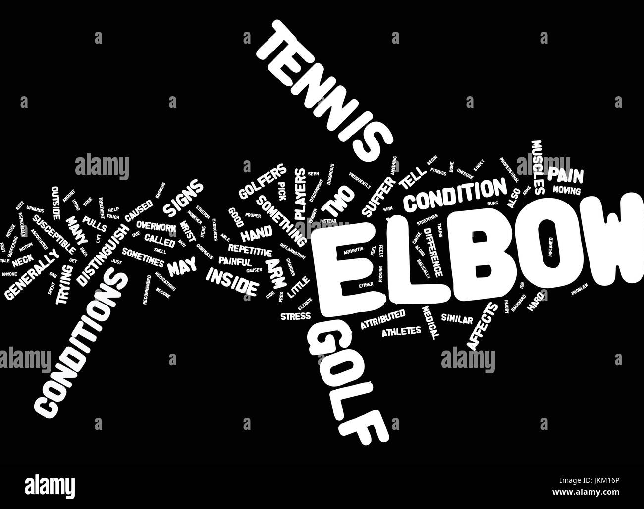 GOLF ELBOW OR TENNIS ELBOW THE TELL TALE SIGNS Text Background Word Cloud Concept Stock Vector
