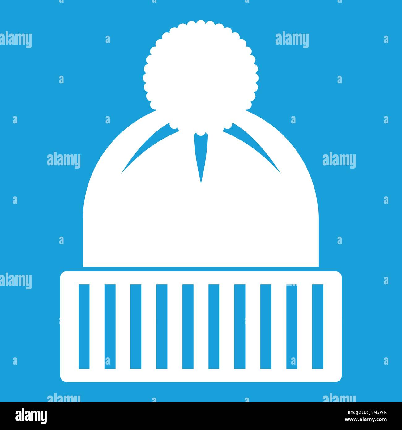 Knitted hat icon white - Stock Vector