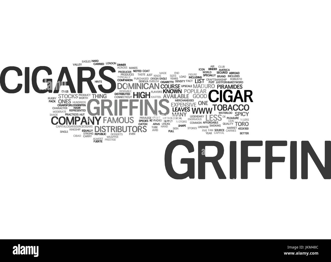 GRIFFIN CIGARS Text Background Word Cloud Concept - Stock Image