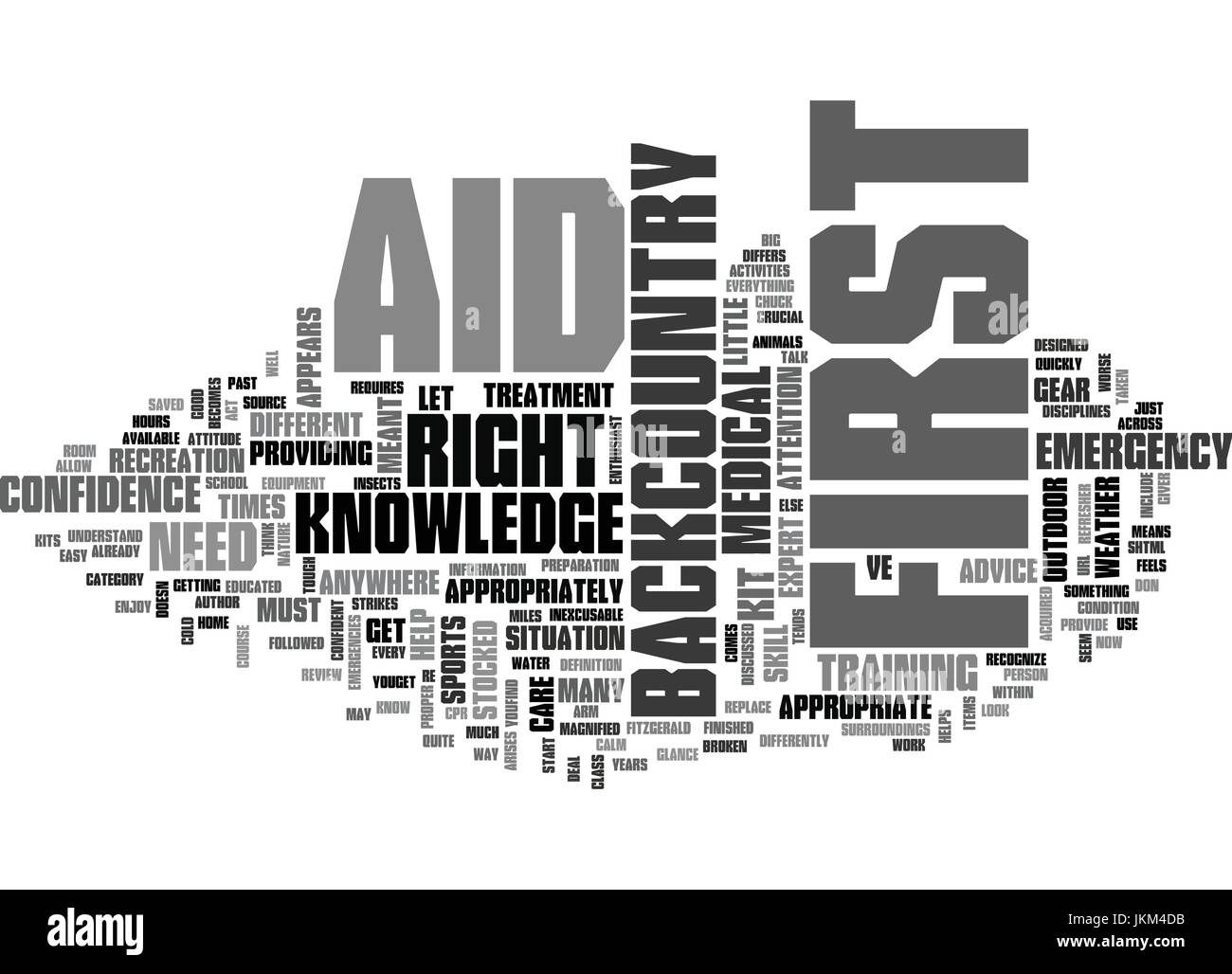 IS FIRST AID DIFFERENT IN THE BACKCOUNTRY Text Background Word Cloud Concept - Stock Vector