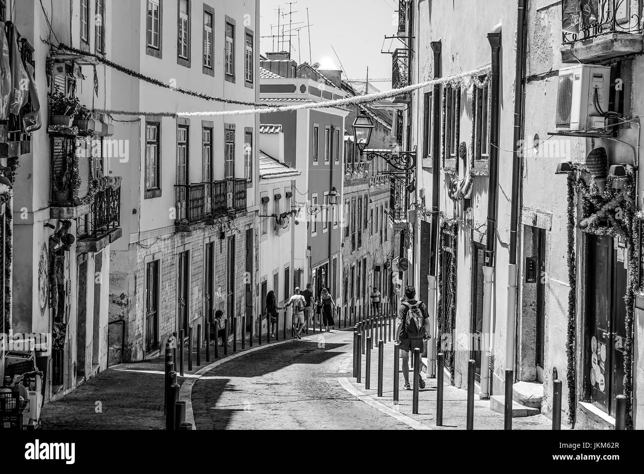 Decorated streets on the hill of Alfama in Lisbon - Stock Image