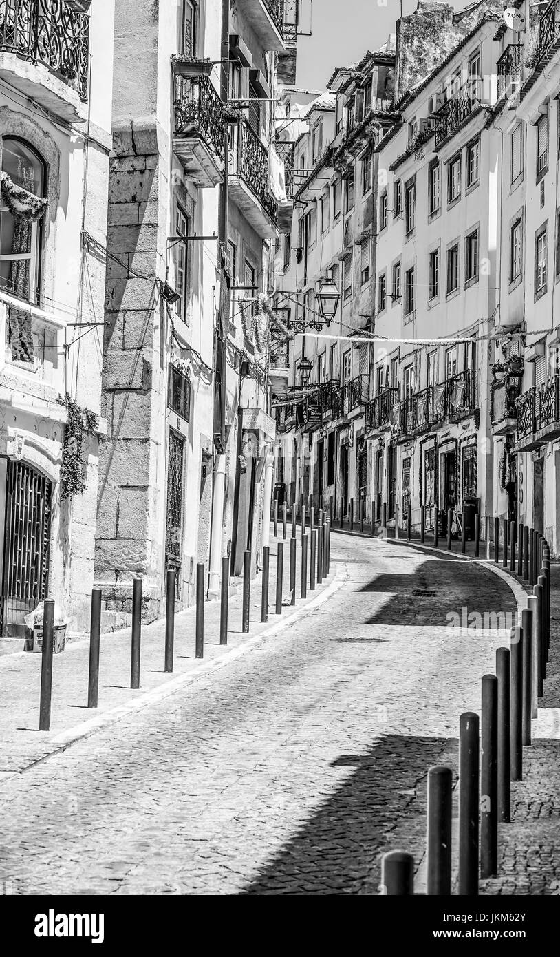 On the beautiful hill of Alfama in Lisbon - Stock Image