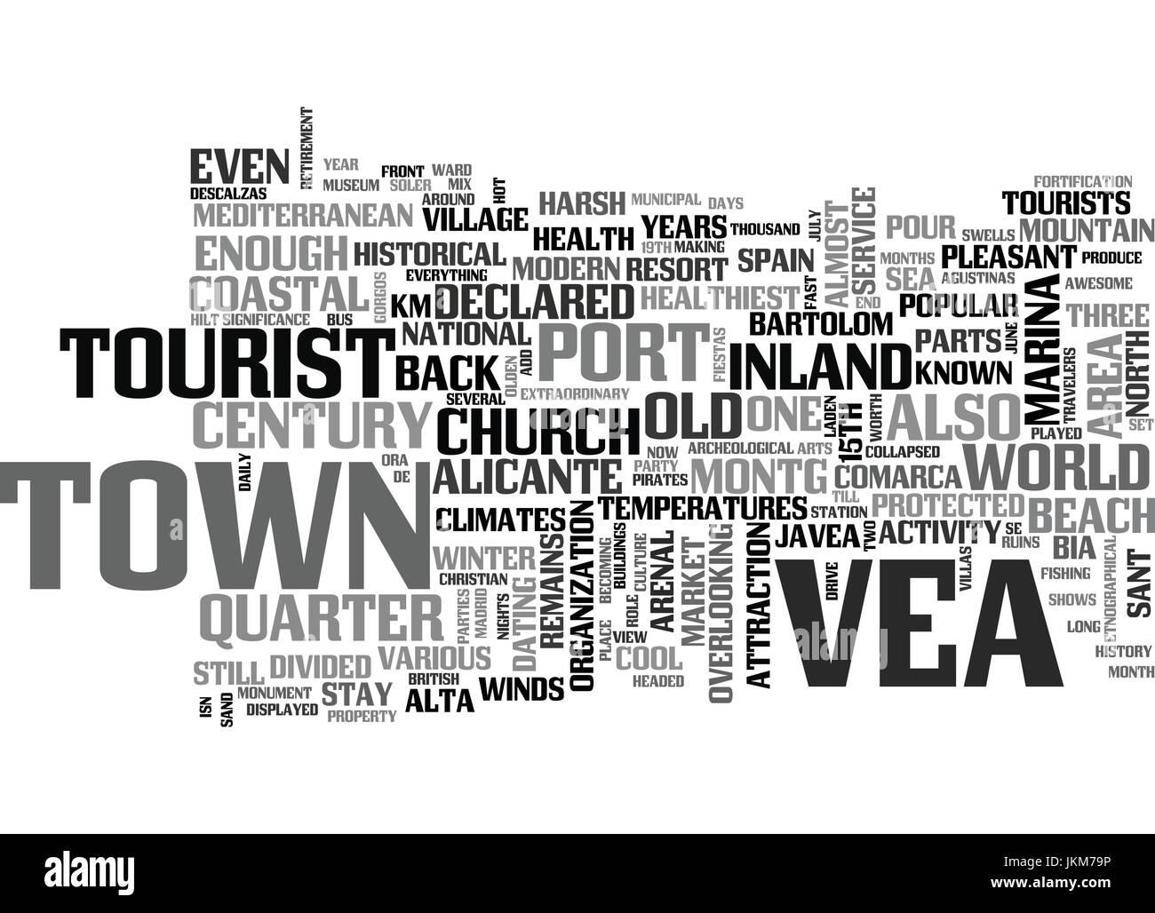 JAVEA A COASTAL PARADISE Text Background Word Cloud Concept - Stock Vector