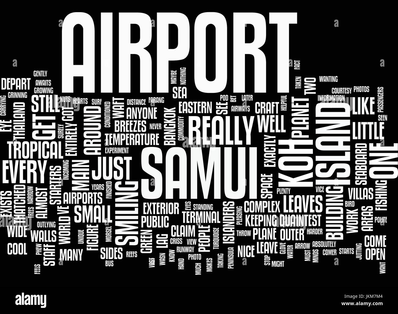 KOH SAMUI AIRPORT Text Background Word Cloud Concept - Stock Vector