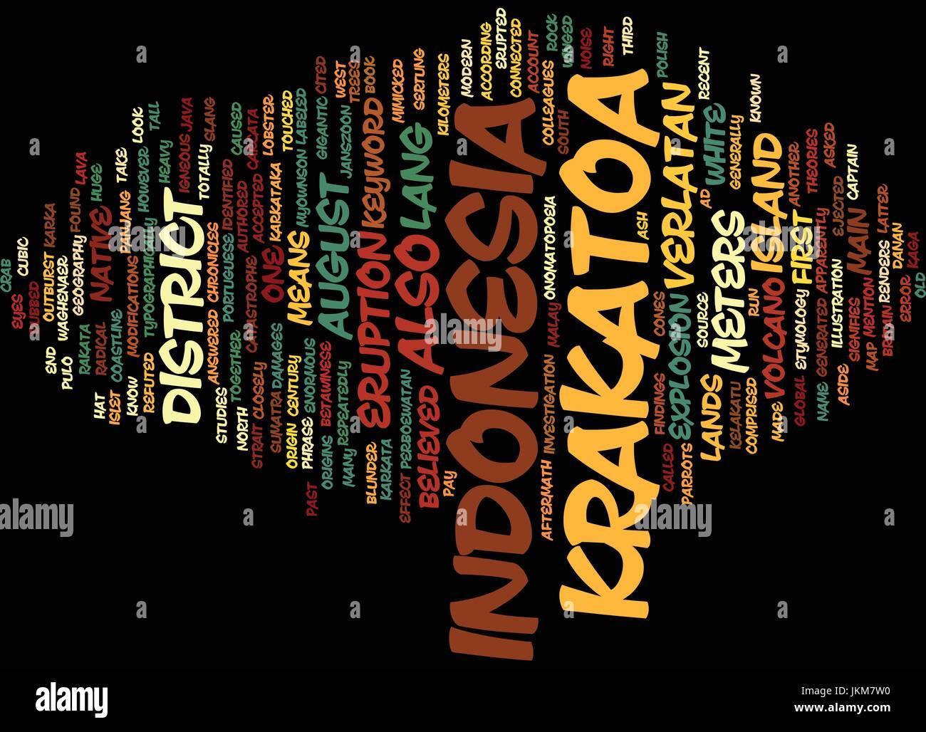 KRAKATOA INDONESIA Text Background Word Cloud Concept - Stock Vector