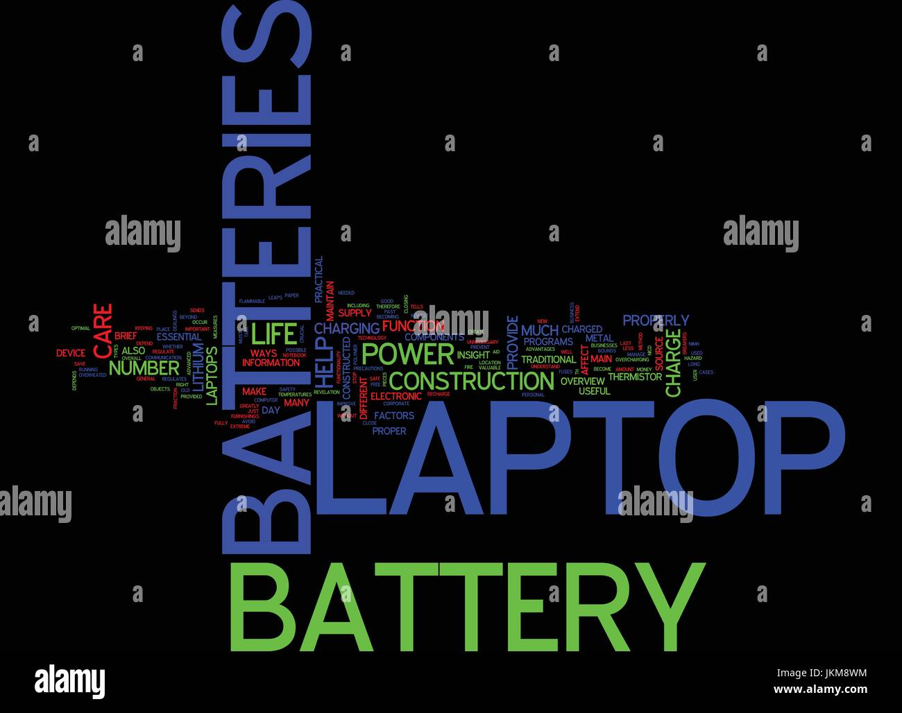 LAPTOP BATTERIES AND LAPTOP BATTERY CARE Text Background Word Cloud Concept - Stock Image