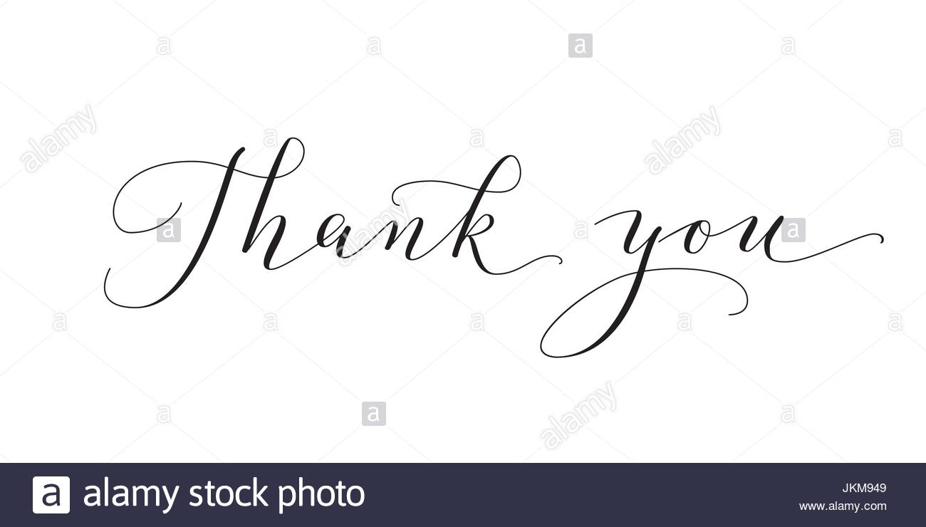 thank you words hand written custom calligraphy isolated on white