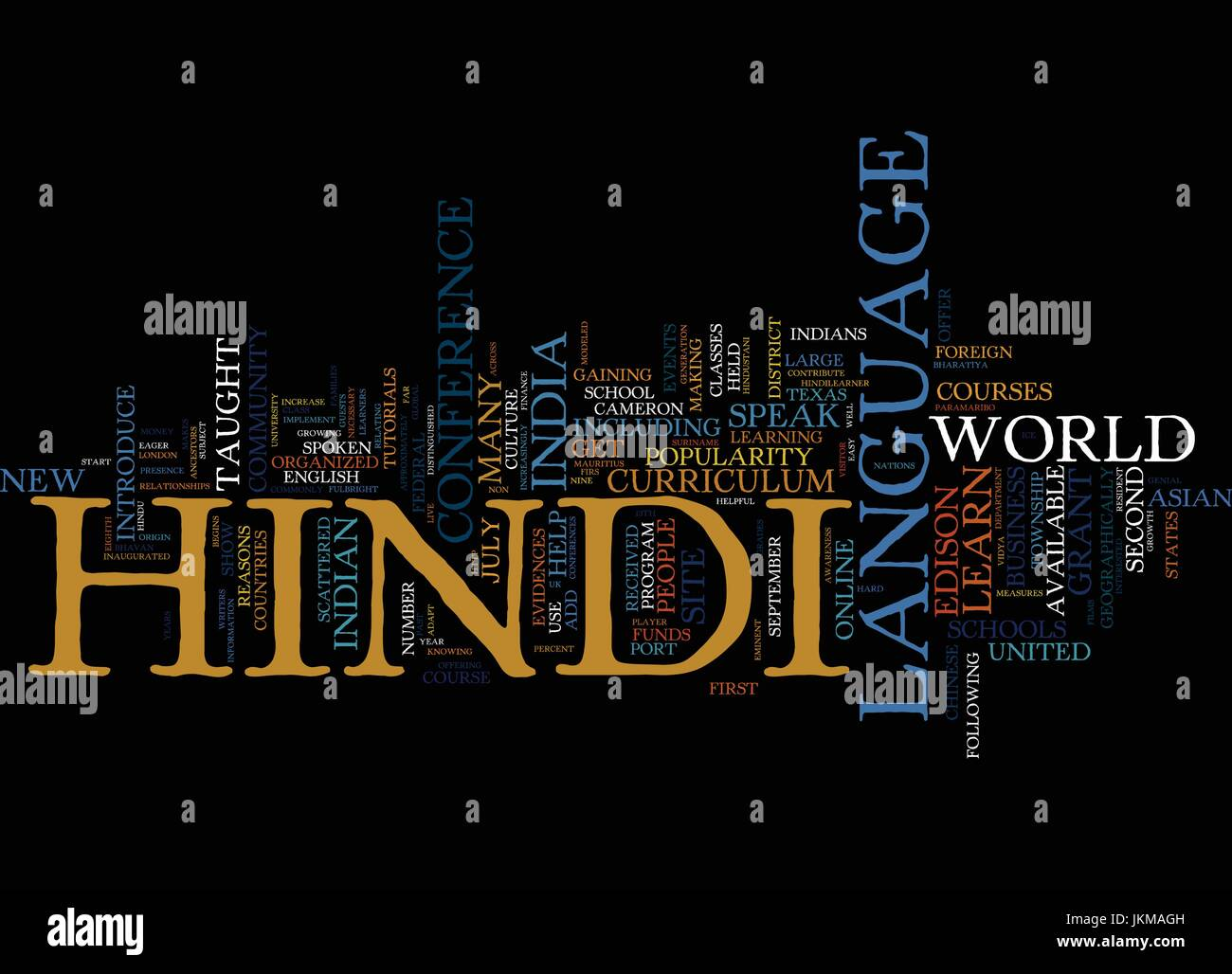 LEARN HINDI LANGUAGE ONLINE Text Background Word Cloud Concept Stock