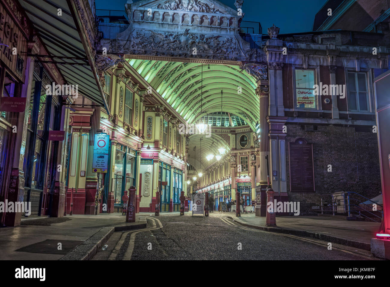 Leadenhall Street Market London at Night - Stock Image