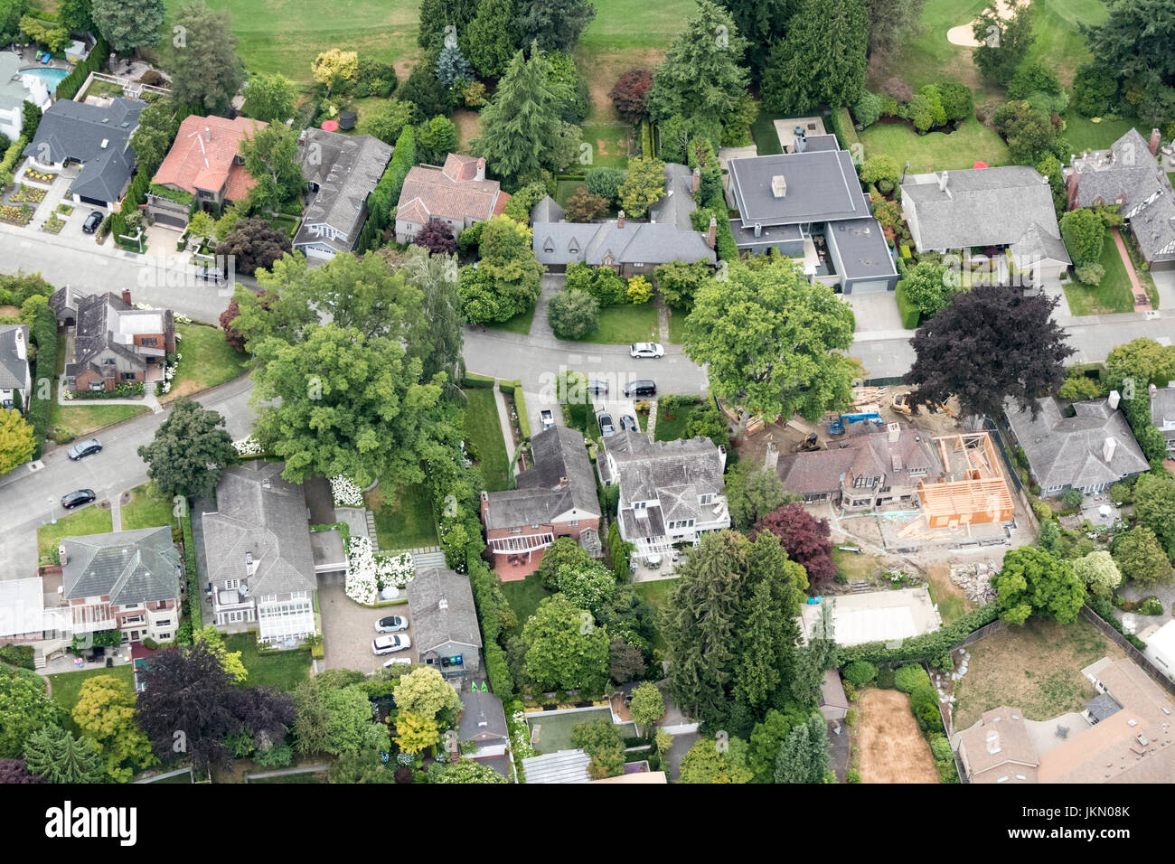 Aerial View Of Luxury Homes In Broadmoor, Seattle, Washington, USA
