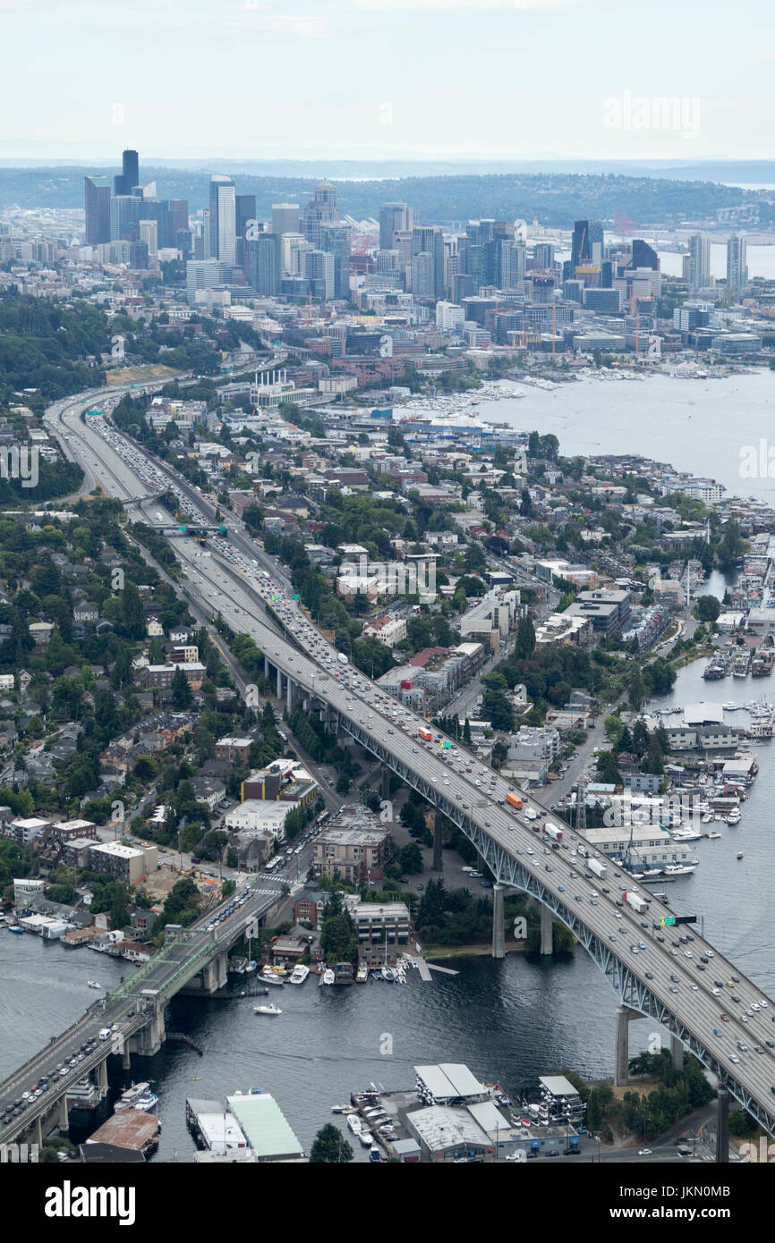 Aerial view of Eastlake Avenue crossed by I-5 Highway, Seattle, Washington State, USA - Stock Image