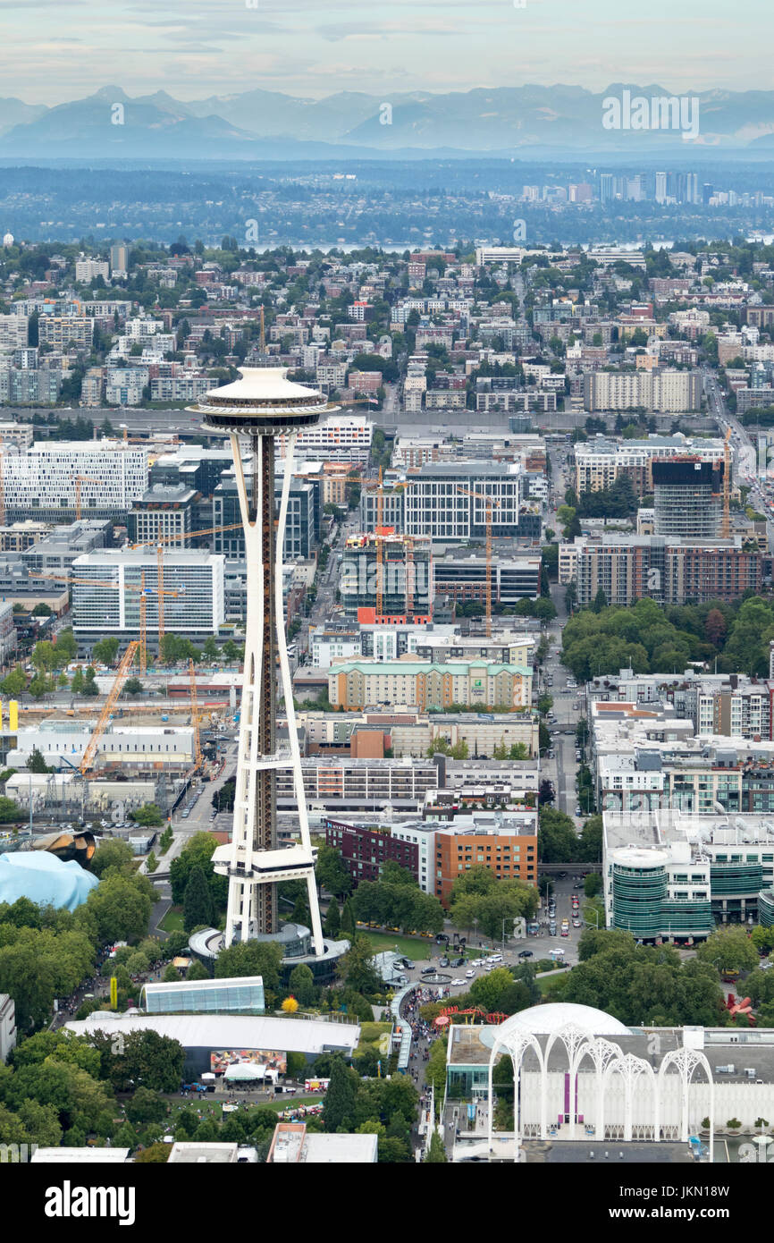 aerial view of the Space Needle, Seattle, Washington State, USA - Stock Image