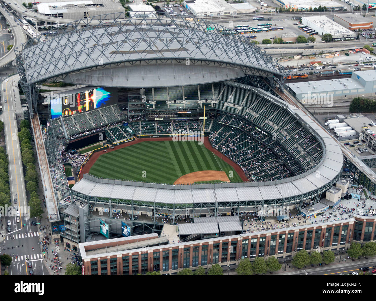 Aerial View Of Safeco Field Retractable Roof Baseball