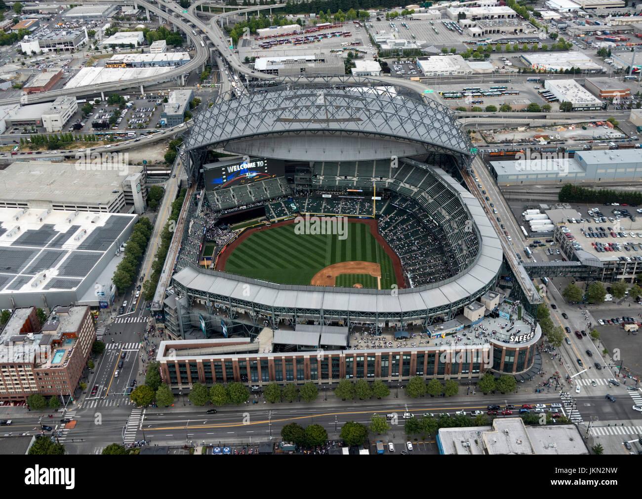 aerial view of Safeco Field retractable roof baseball stadium, Seattle, Washington, USA - Stock Image
