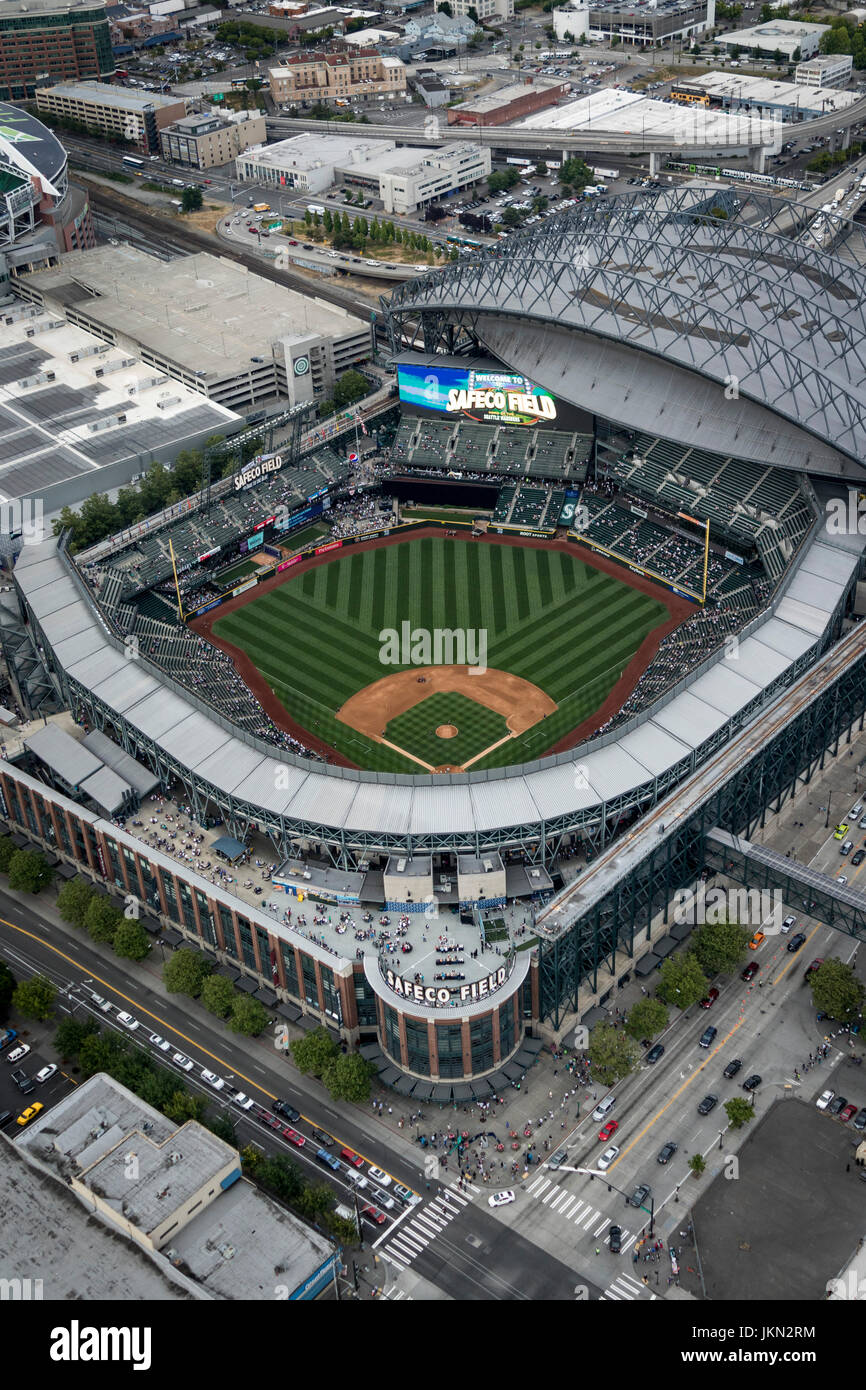 aerial view of Safeco Field retractable roof baseball ...