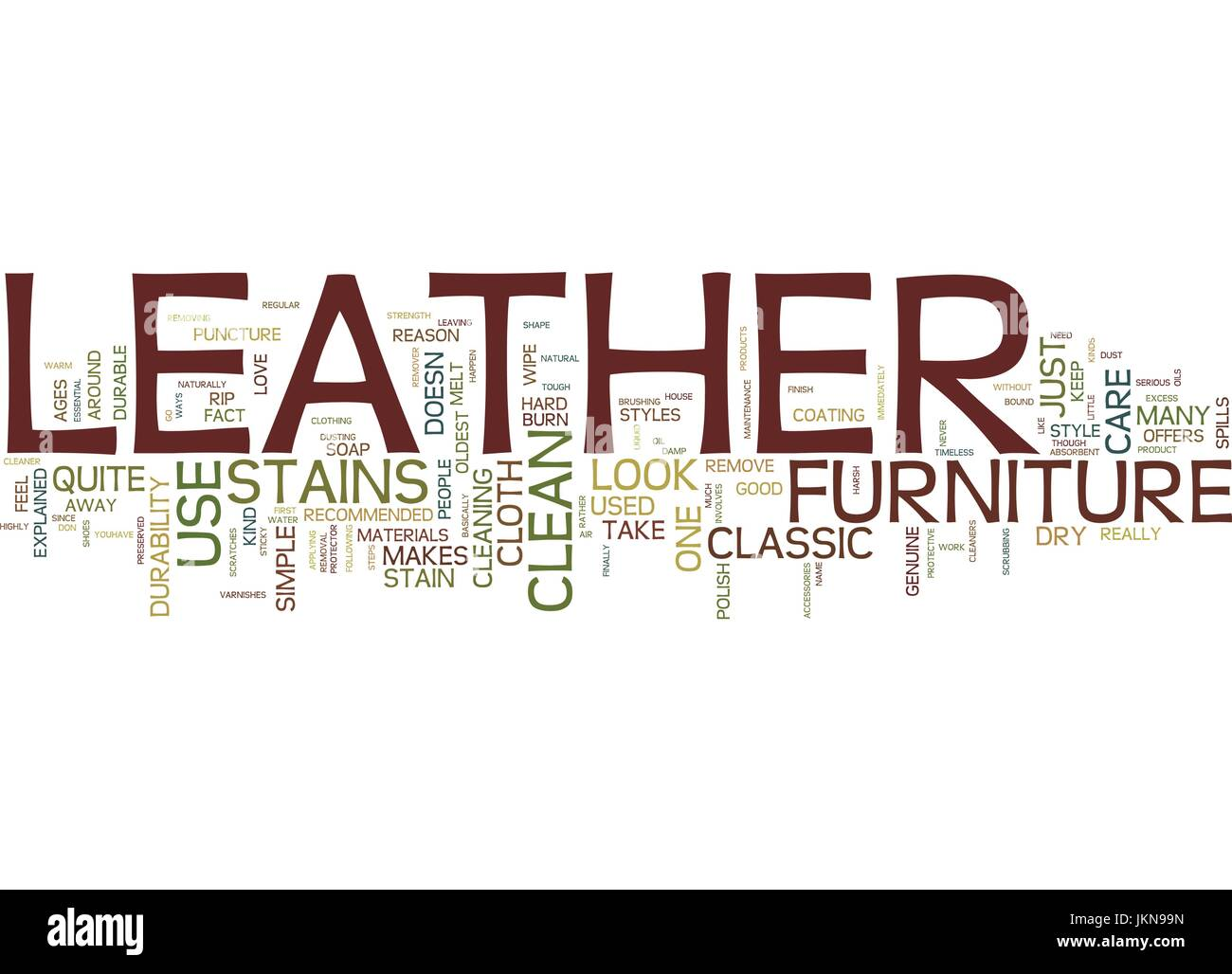 LEATHER THE CLASSIC FURNITURE Text Background Word Cloud Concept - Stock Vector