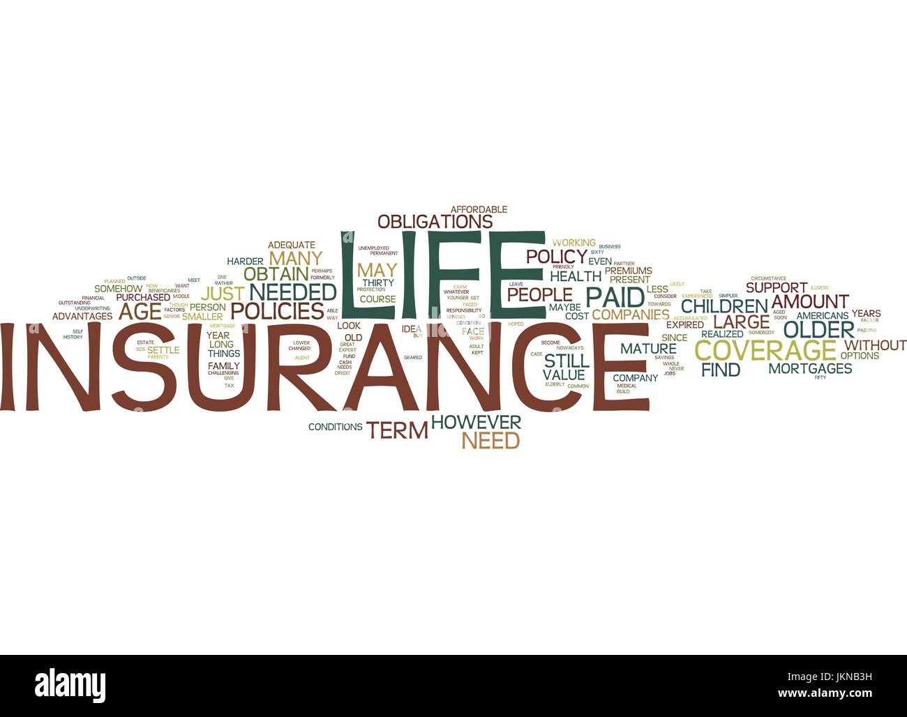 LIFE INSURANCE OVER OVER AGE OR EVEN AGE Text Background Word Cloud Concept - Stock Vector