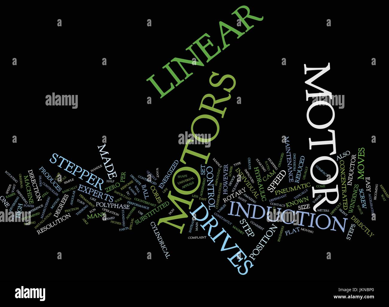 LINEAR MOTORS AND STEPPER MOTORS Text Background Word Cloud Concept - Stock Vector
