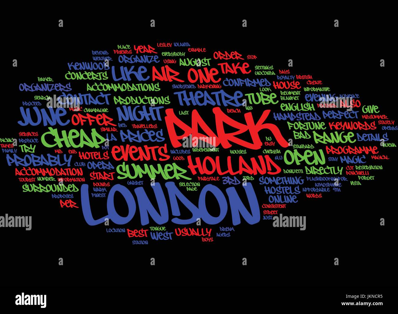 LONDON OPEN AIR EVENTS IN JUNE Text Background Word Cloud Concept - Stock Vector