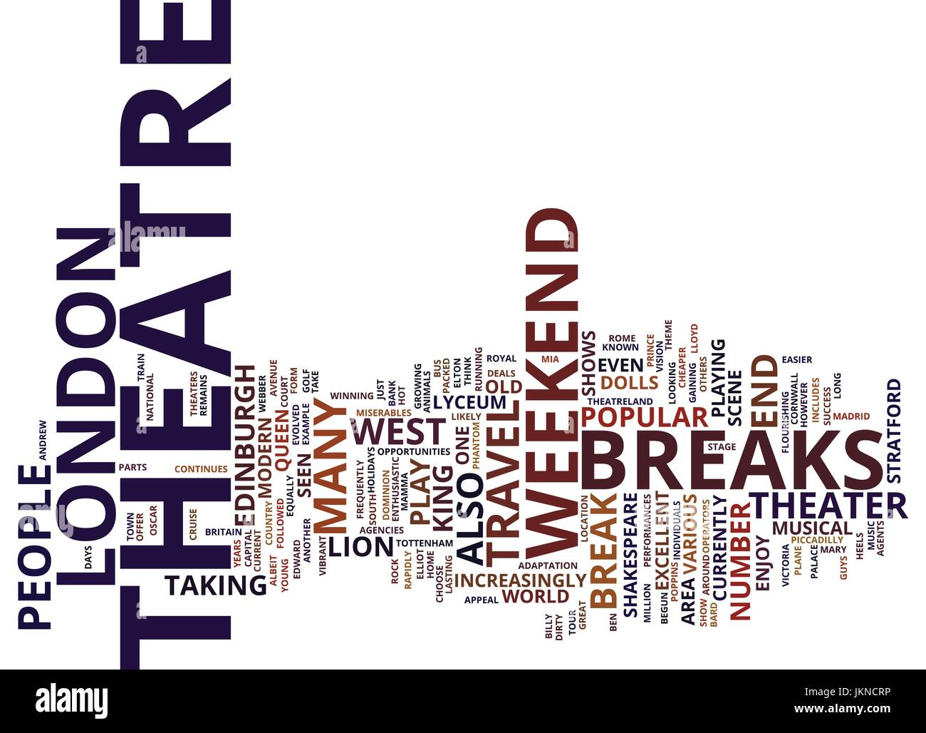 LONDON THEATRE BREAKS Text Background Word Cloud Concept - Stock Vector