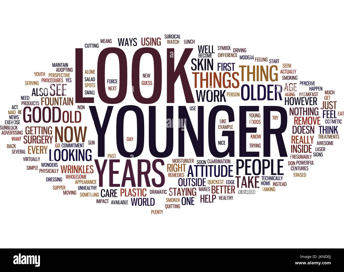LOOK YEARS YOUNGER Text Background Word Cloud Concept - Stock Vector