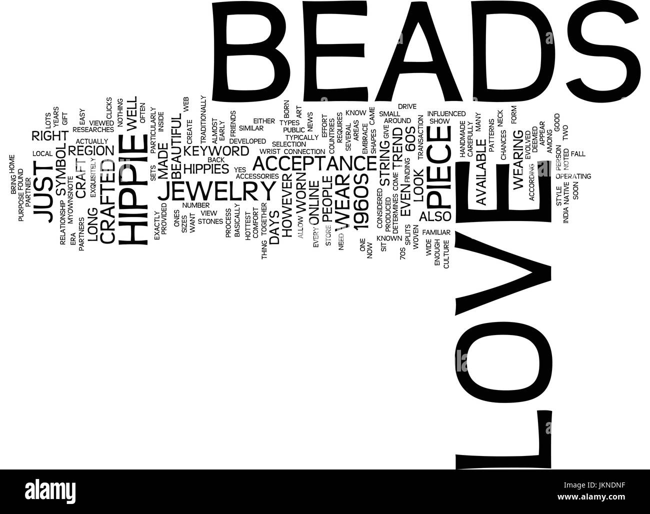 LOVE BEADS Text Background Word Cloud Concept Stock Vector