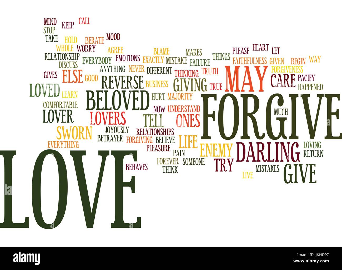 LOVE FORGIVENESS IS TRUE LOVE Text Background Word Cloud Concept Stock Vector