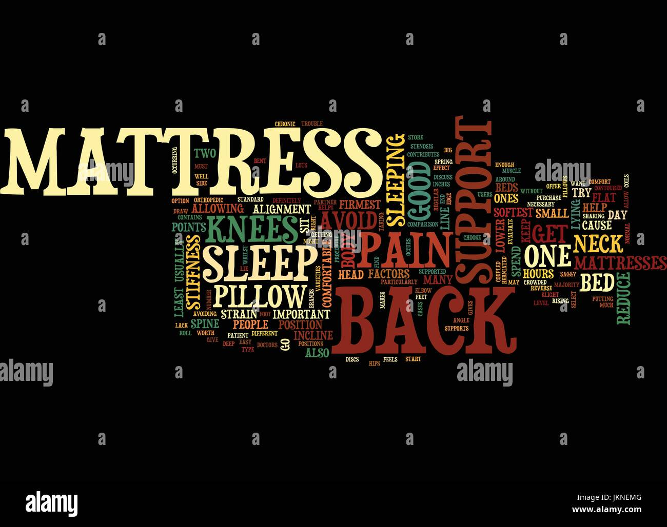 MATTRESS AND BACK SUPPORT Text Background Word Cloud Concept - Stock Image
