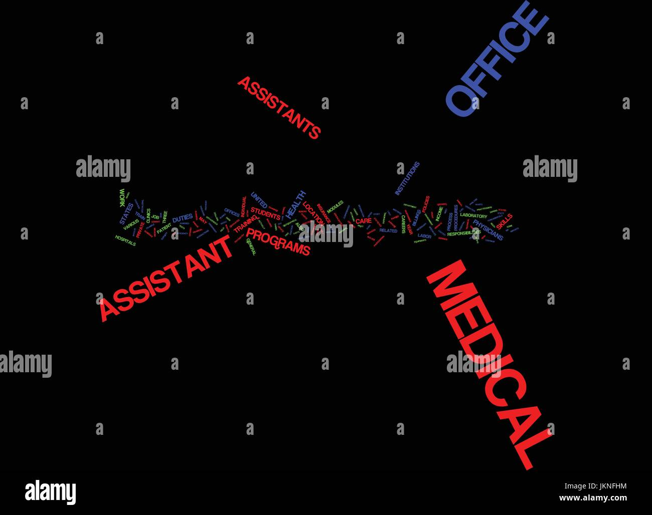Medical Office Assistants Text Background Word Cloud Concept Stock