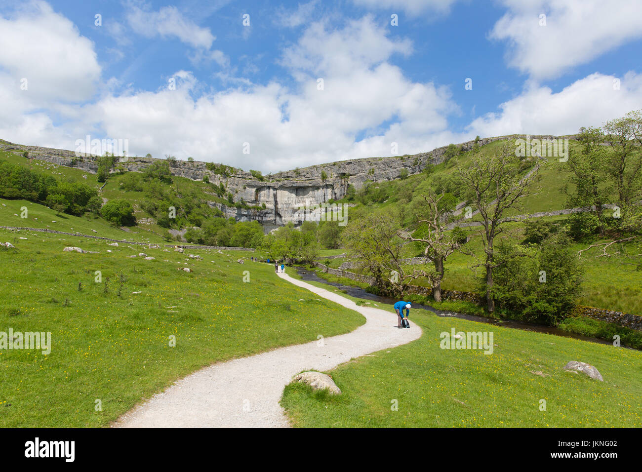 Malham Cove Yorkshire Dales National Park England UK tourist attraction - Stock Image