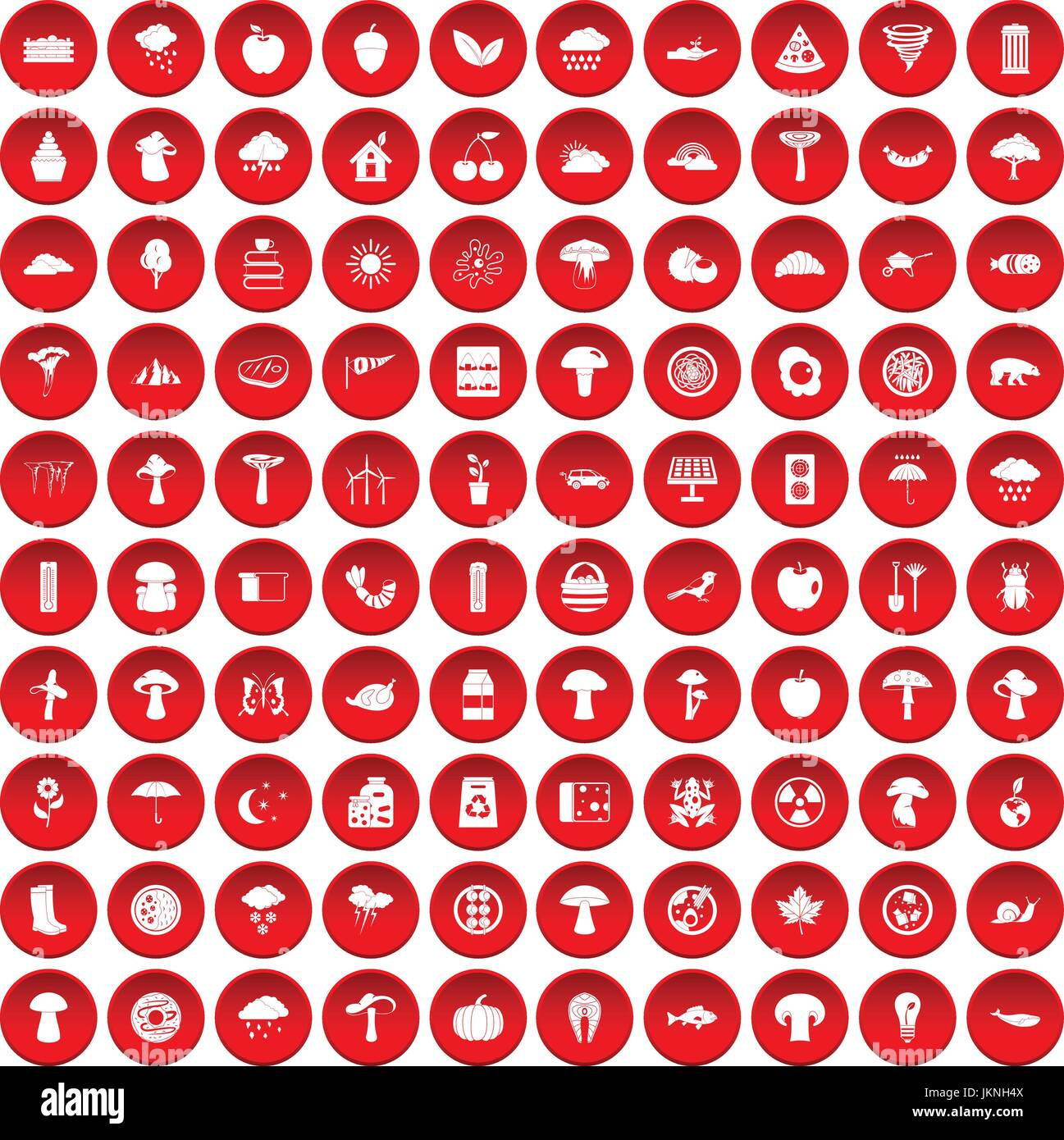100 mushrooms icons set in red circle isolated on white vector illustration Stock Vector