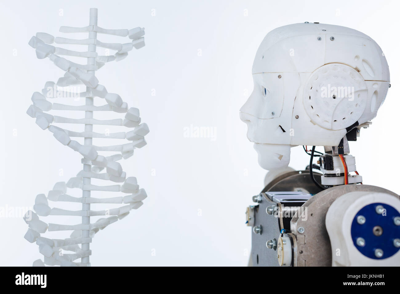 Picture of the robot and DNA - Stock Image