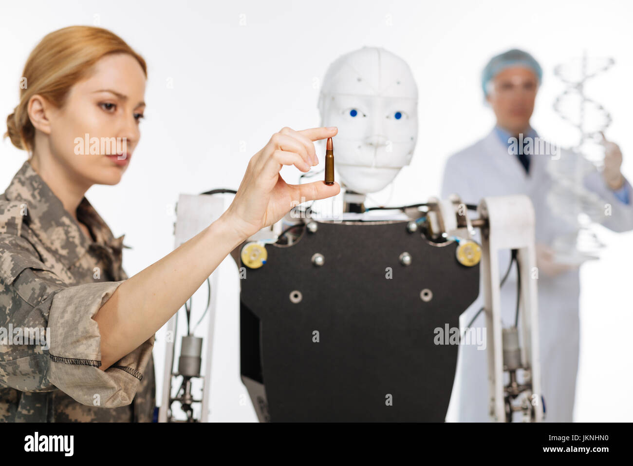Brilliant skillful officer working in secret lab - Stock Image