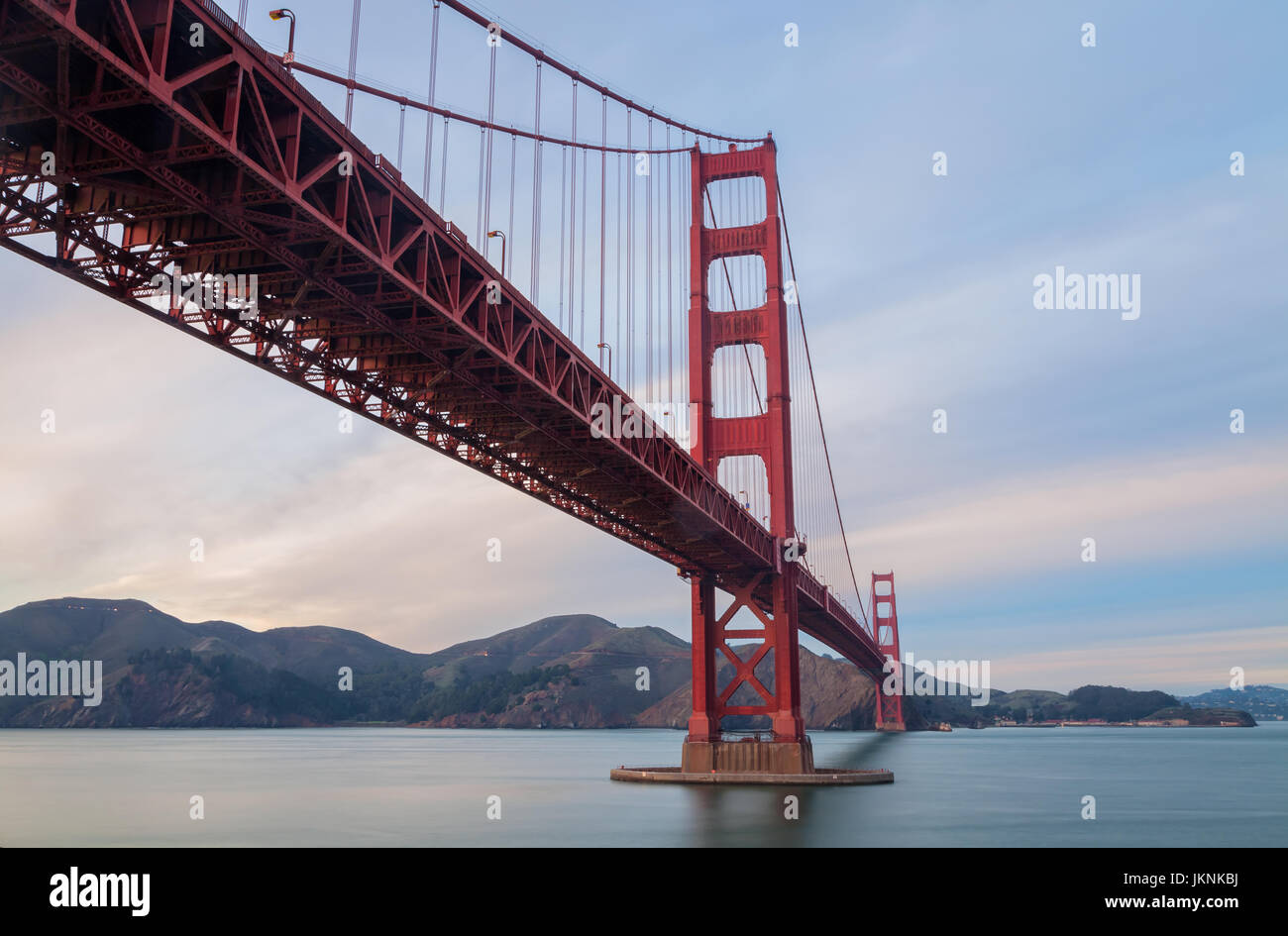 the iconic Golden Gate Bridge in San Francisco,  USA, at sunset - Stock Image