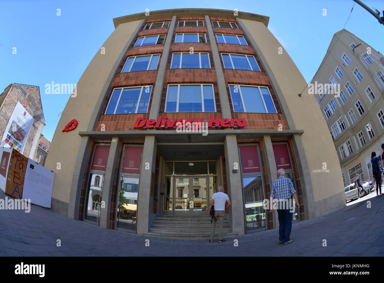 Delivery Hero, Oranienburger street, middle, Berlin, Germany, Oranienburger Strasse, Mitte, Deutschland - Stock Image