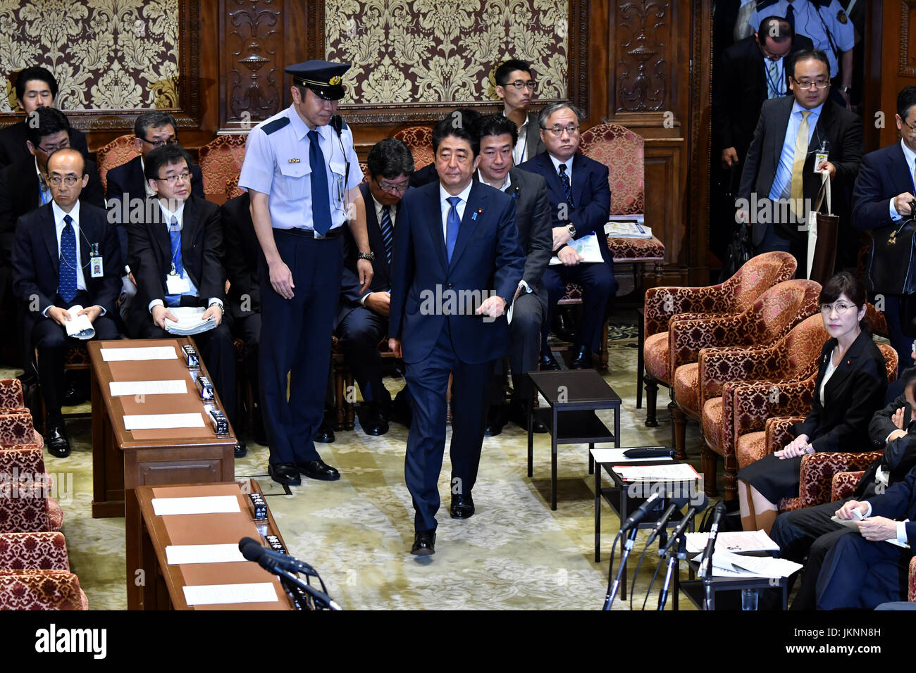 Tokyo, Japan. 24th July, 2017. Japans Prime Minister Shinzo Abe arrives at an ad-hock session of the Diets lower - Stock Image