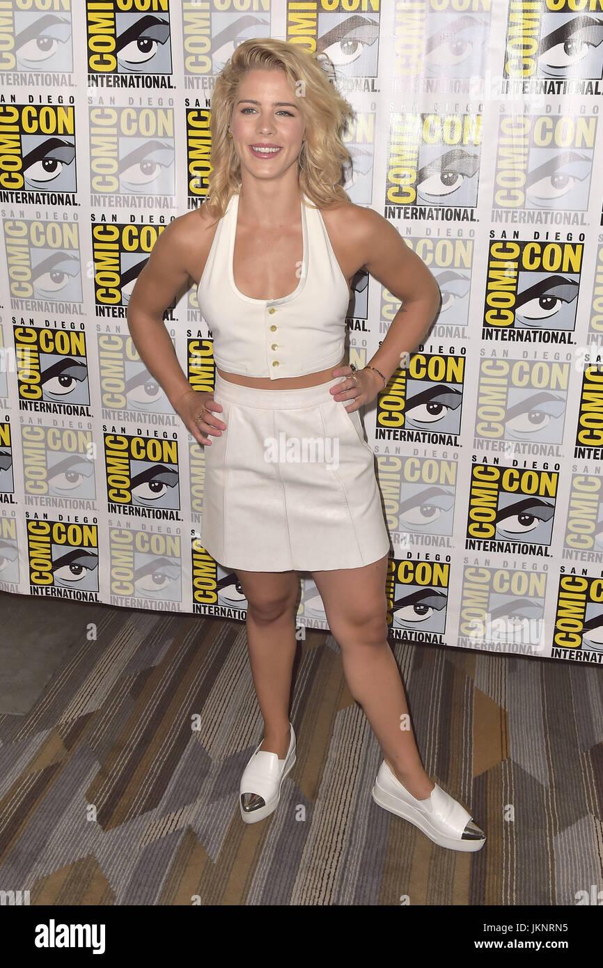 Emily Bett Rickards at Arrow press line during Comic Con