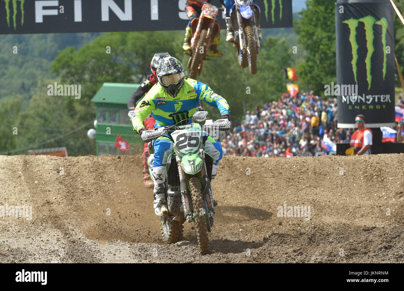 Clement Desalle (Belgium) races during the Grand Prix Czech Republic within Motocross World Championship in Loket, Stock Photo