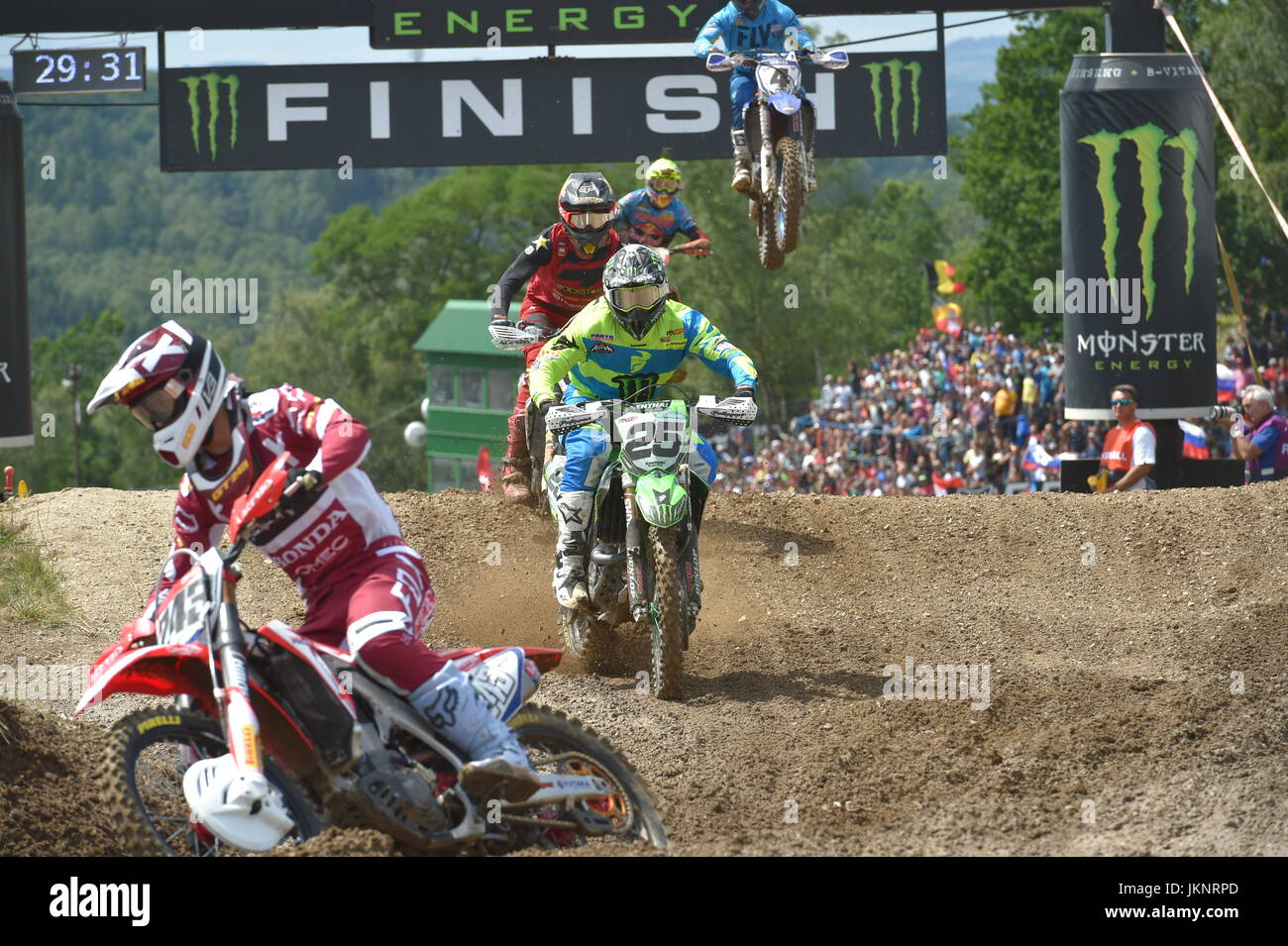 Loket, Czech Republic. 23rd July, 2017. Clement Desalle (Belgium, center) races during the Grand Prix Czech Republic Stock Photo